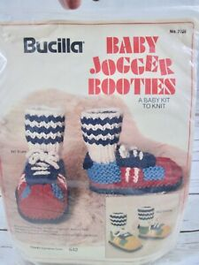 Vtg Bucilla Baby Jogger Shoe Sneaker Sock Booties Knit Pattern Kit Yellow Green