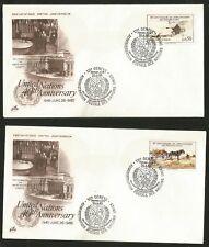 United Nations 45 Anniversary 2 Fdc two Fdcs Geneva Stamp 1985 Horse