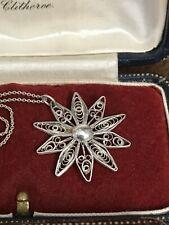 "925 Sterling Silver Large Flower Pendant Necklace Chain 20"" 51cm  (D8G3)"