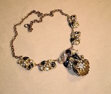 Vintage Necklace Older CORO Victorian Revival Black Enamel Gold Tone Settin 281j