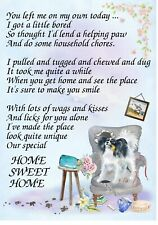 """Papillon Dog (4"""" x 6"""") Blank Card/ Notelet with funny poem by Starprint"""