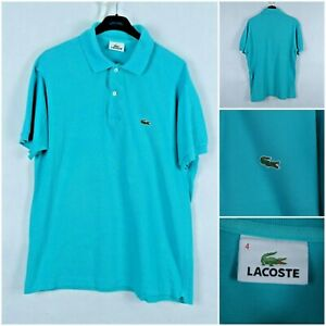 LACOSTE Vintage Mens Blue Short Sleeve Cotton Polo Shirt SIZE 4, Medium