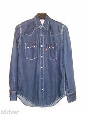 Vintage LEVI'S Saw Tooth Western Denim Shirt Size Small Hexagon buttons