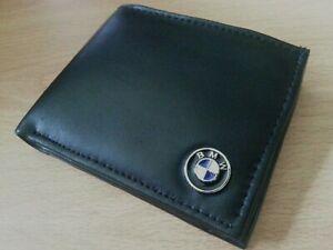 bmw wallet black soft genuine leather bi-fold uk cards coins metal badge