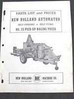 1952 NEW HOLLAND No. 75 SELF-FEEDING SELF-TYING BALER PARTS CATALOG MANUAL
