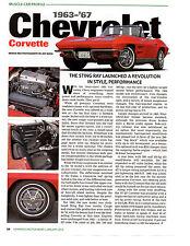 1963-1967 CHEVROLET CORVETTE ~ NICE MUSCLE CAR PROFILE ARTICLE / AD