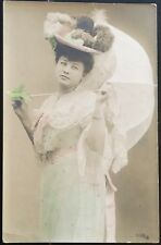 Beauty In Large Fancy Feathered Hat & Parasol ~ Tinted Real Photo Postcard Rppc