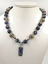 Vintage Old Necklace Lapis Lazuly Natural Stone SIlver Metal Beads & Pendant GRT