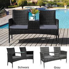 Polyrattan Gartenmöbel Gartenbank Sitzbank mit Tisch Sitzgruppe 2-Sitzer DE