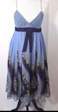 Anthropologie ANNA SUI Silk Empire Waist Blue Pattern Dress Size 10 New w/ Tags