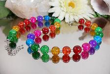 Auffallende CRACKLE Kugel 12mm GLAS Perlen Kette bunte Regenbogen Farben