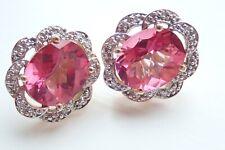 Stunning 14ct Gold Topaz & Diamond Earrings 8g