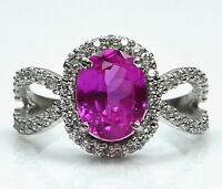 14KT White Gold 3.10Ct Natural Pink Tourmaline With EGL Certified Diamond Ring