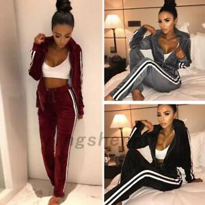 Women Athletic Tracksuit Outfits Hoodie Sweatpants Striped Outwear Pants AU