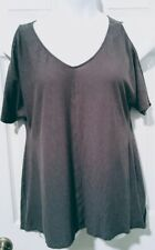 Calvin Klein Jeans Women's shirt large Short Sleeve cold shoulders Loose Fit