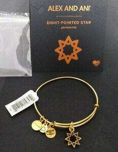 Authentic Alex and Ani Eight Pointed Star Rafaelian Gold Charm Bangle Energy New