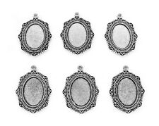6 Ant. Silvertone Katherine style 25mm x 18mm Cameo craft Pendant Frame Settings