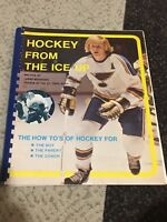 Vtg 70s Hockey From the Ice Up Tommy Woodcock Book Signed Autograph Blues