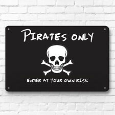 Pirates only kids room door sign decor metal sign A4 picture wall art skull