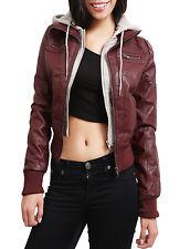 NE PEOPLE Women's Light Weight Faux Leather Moto Jacket with Hood NEWJ66