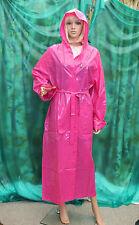 Shiny Solid Pink PVC vynal Raincoat hooded mackintosh TV fettish size Large'