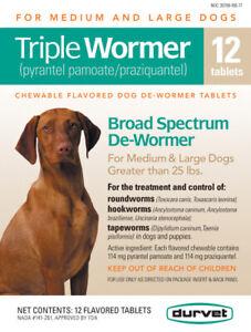 Triple Wormer Broad Spectrum De Wormer Medium Large Dogs 25 Pounds Plus 12 Tabs