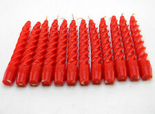 "12 VENETIAN SPIRAL TAPER CANDLES POPPY RED 8"" BURN 5 HOURS APPROX EACH MELT"