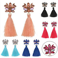 Bohemia Jewelry Long Dangle Tassel Earrings Crystal Drop Ear Stud Colorful Party