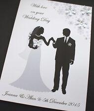 Grande Handmade personalizzata Sposa & Sposo congratulazioni Inverno WEDDING CARD