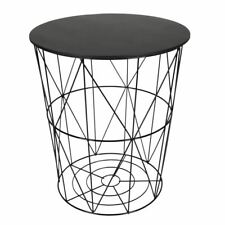 Design Beistelltisch schwarz - Metall Drahtkorb + Sitzdeckel - Couchtisch Tisch