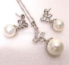 Donna Placcato Oro Bianco Perle di Imitazione Set Collana Orecchini