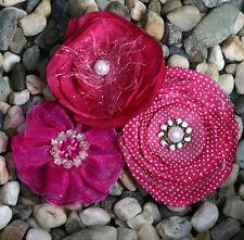"Petaloo Floral Embellishments ""Fabric Flowers"" 3 pcs Fuschia 1607-017"