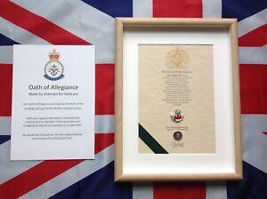 Oath Of Allegiance Light Infantry  (framed with Cap Badge)