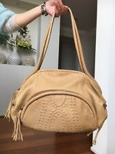 RARE MIMCO Large Tan Leather Tattoo Bubble Tassel Pattern Round Every Day Bag