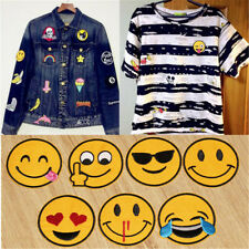 7X Emoji Emotion Embroidery Iron On Applique Patches Sticker Sewing Craft Repair