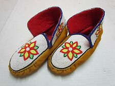 STUNNING FULLY BEADED NATIVE AMERICAN MOCCASINS - WHITE W/FLOWER BEADING - 9 IN