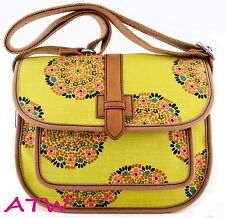 NWT FOSSIL SHAY WOVEN CANVAS FLAP SHOULDER BAG CROSSBODY YELLOW MULTI FLORAL