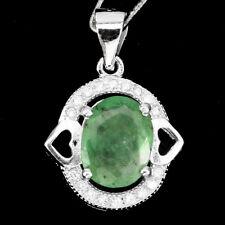 Natural Oval Cut 10x8mm Rich Green Emerald & W Cz 925 Silver Pendant Chain Free