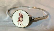 """Silver Metal 7"""" Snap Bracelet Horse Snap Dressage Half Pass 18-20Mm Bubbles!"""