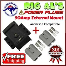 50Amp TrailerVision Mounting Mount Kit Bracket Anderson Cap Cover + 2 Grey Plugs