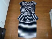 Mossimo stylish black & white striped dress with ruffle around waist size S