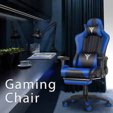 Home Office Gaming Massage Chair Racing Pu Executive Computer Desk Swivel Blue