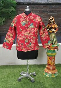 Women Quilted Jacket Reversible Casual Wear Handmade Cotton Blazer Red Jacket