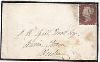 * c.1852 UDC MONYMUSK LOCAL NAMESTAMP & SCARCE =250= NUMERAL MOURNING COVER