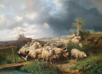 Art Giclee Print Shepherd Cotton Sheep Oil painting HD Printed on canvas P1204
