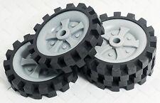 4 Gray Black Wheels Tires Knex Building Toy Parts Lot