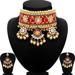 Indian Rajasthani Kundan Choker Traditional Jewelry Meenakari Style Necklace Set