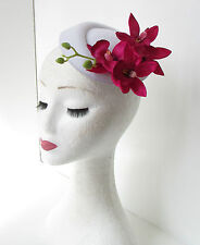 White Hot Pink Orchid Flower Pillbox Hat Fascinator Races Rockabilly 1950s 197