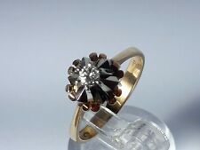 Unusual 18ct Gold & Diamond Solitaire Ring. Size O. 4.1 Grams