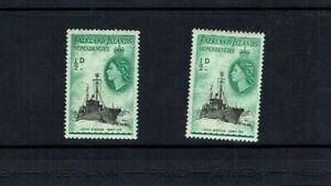 Falkland Islands Dep.: 0.5d Ship definitive, De la Rue print, dark green, Mint